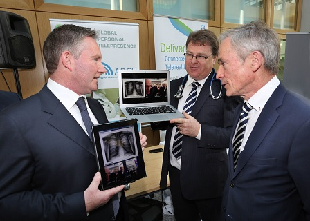 Pictured at the launch of ARCH, the new Connected Health Technology Centre were Michael O'Shea, ARCH Centre Director, Andrew Collins, VU 2 VU one of the 15 participating companies and Richard Bruton T.D. Minister for Jobs, Enterprise and Innovation